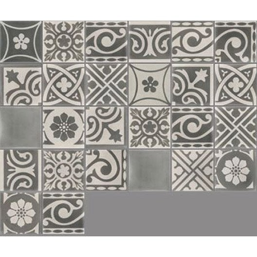 Carreau de ciment sol et mur gris fonc et clair patchwork - Carreau ciment adhesif ...