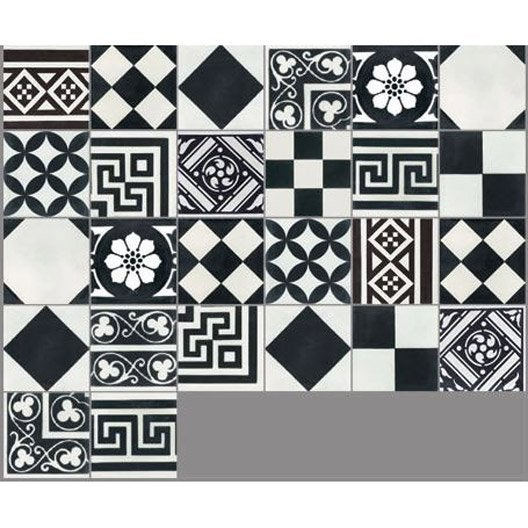 Carreau de ciment sol et mur noir et blanc patchwork for Vinyle carreaux de ciment leroy merlin