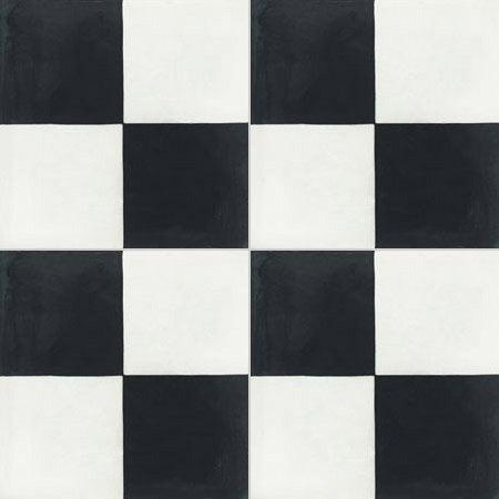 Carrelage Noir Blanc carreau de ciment sol et mur blanc et noir damier l.20 x l.20 cm