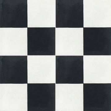 Carreau de ciment sol et mur blanc et noir Damier l.20 x L.20 cm