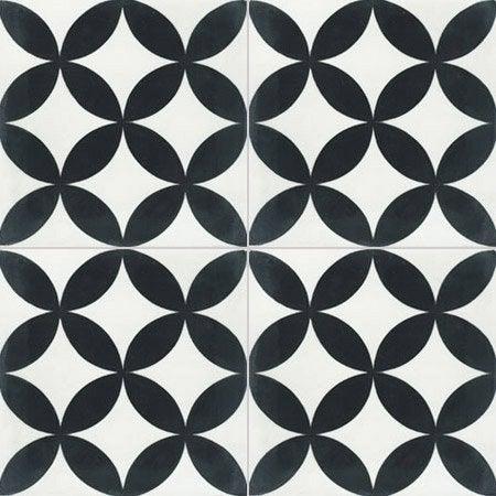 Carreau De Ciment Sol Et Mur Blanc Et Noir Palmette L 20 X L 20 Cm