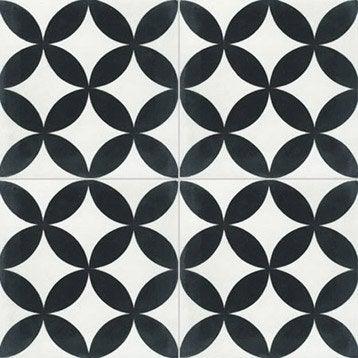 Carreau de ciment sol et mur blanc et noir Palmette l.20 x L.20 cm