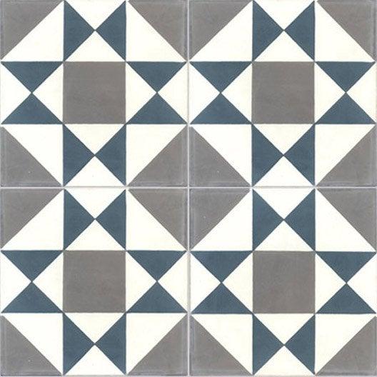 Carreau de ciment sol et mur bleu gris fonc grenelle l for Glissance carrelage