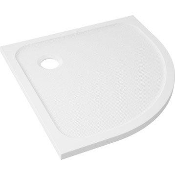 Receveur de douche 1/4 de cercle l.80 x l.80 cm, résine blanc Mila