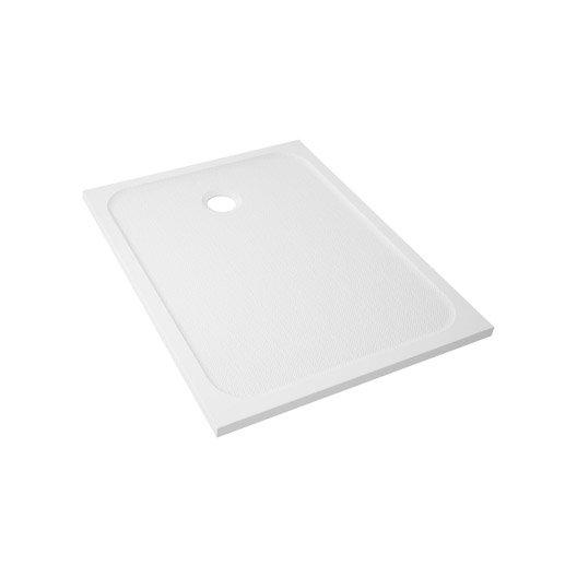 Receveur de douche rectangulaire l.100 x l.80 cm, résine blanc Mila