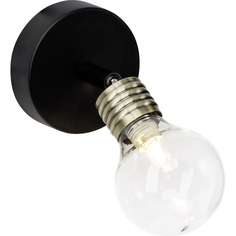 Spot Patère Moderne Métal Noir Brilliant Bulb Leroy Merlin