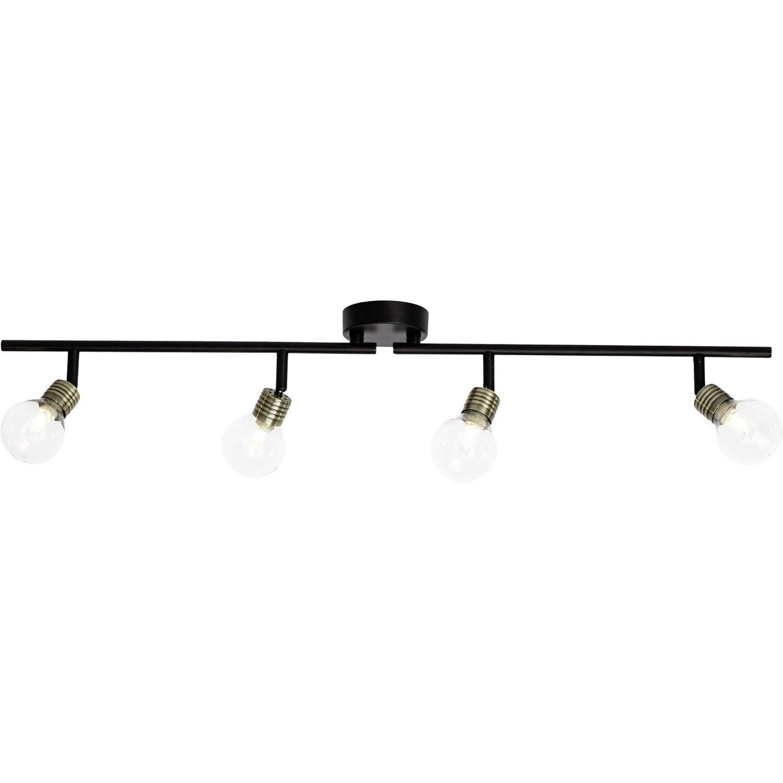 rampe 4 spots moderne bulb 4 xg9 noir brilliant leroy. Black Bedroom Furniture Sets. Home Design Ideas
