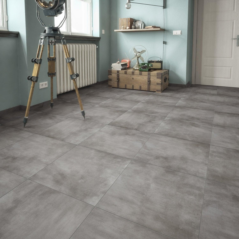Carrelage sol et mur gris foncé effet pierre Raison l.61.5 x L.61.5 ... e1e4b56eaefb