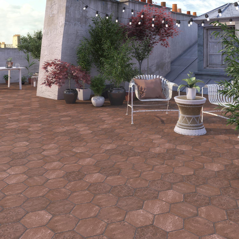Carrelage sol extérieur forte effet terre cuite rouge Street l.25 x L.21.6 cm
