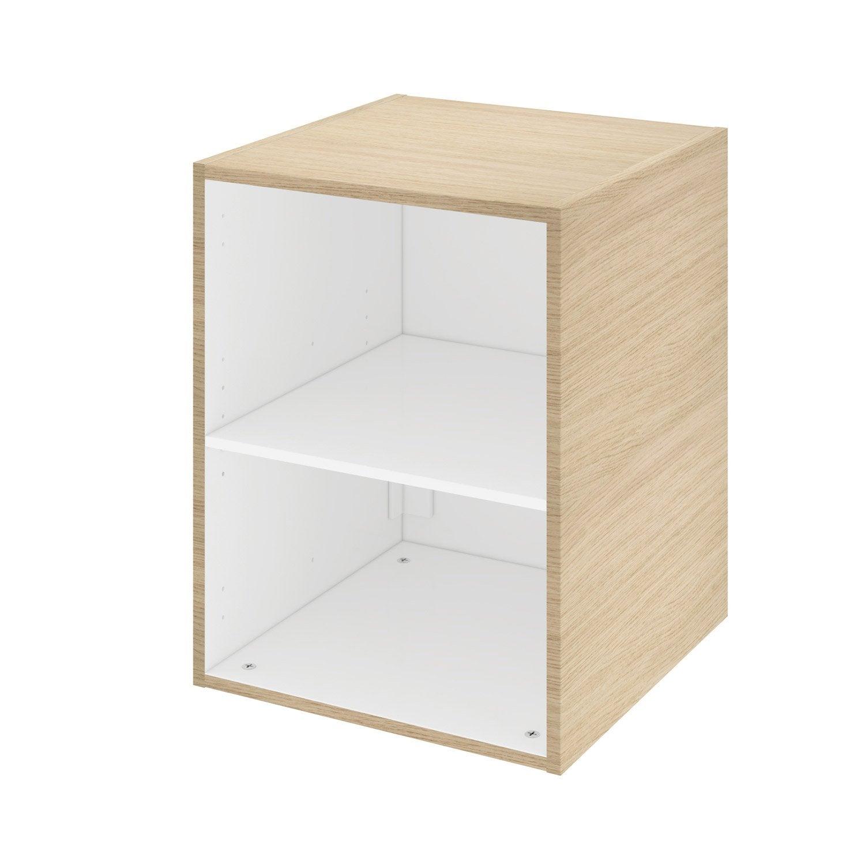 Hauteur Entre Plan De Travail Et Meuble Haut caisson meuble haut / bas l.45 x h.58 x p.46 cm, chêne, remix