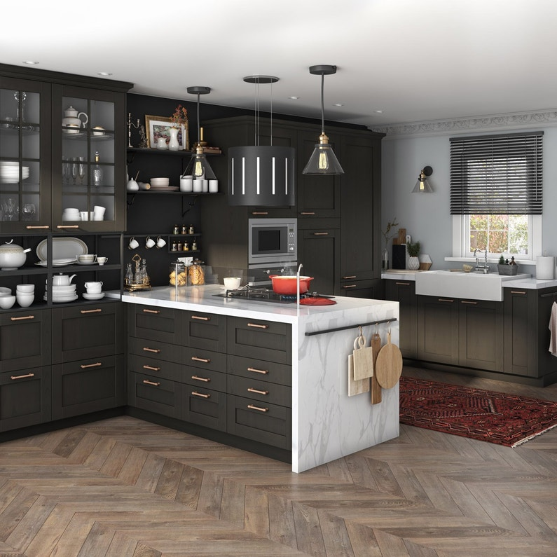 Porte de cuisine vitr e chicago noir delinia id x cm leroy merlin - Porte vitree pour meuble ...