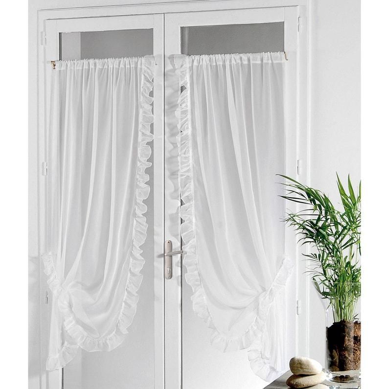 Paire De Vitrages Transparent Voile Bonne Femme Blanc L95 X H150 Cm