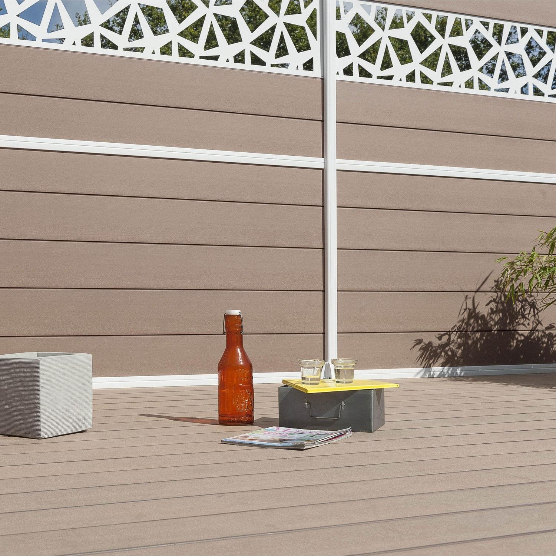 clôture à composer composite premium brun clair  leroy merlin