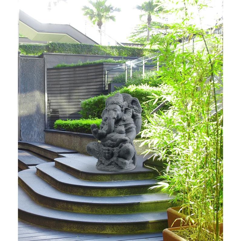 Décoration de jardin statue Ganesh Assis en pierre reconstituée 80 cm