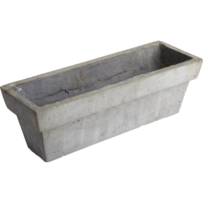 Jardinière Fibre L 52 X 17 H Cm Gris Ciment