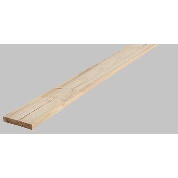Planche sapin petits noeuds brut, 195x30 mm, long 250cm