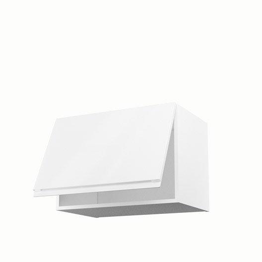 Meuble de cuisine haut sur hotte blanc 1 porte graphic h for Meuble haut porte relevante