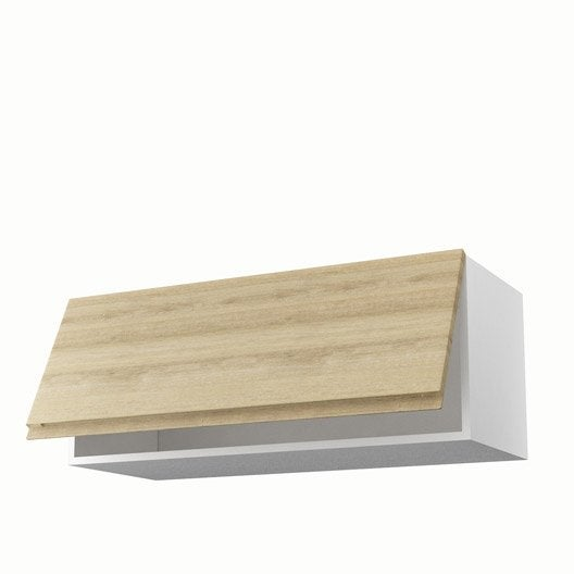 Meuble de cuisine haut d cor ch ne blanchi 1 porte graphic for Meuble 90 cm largeur