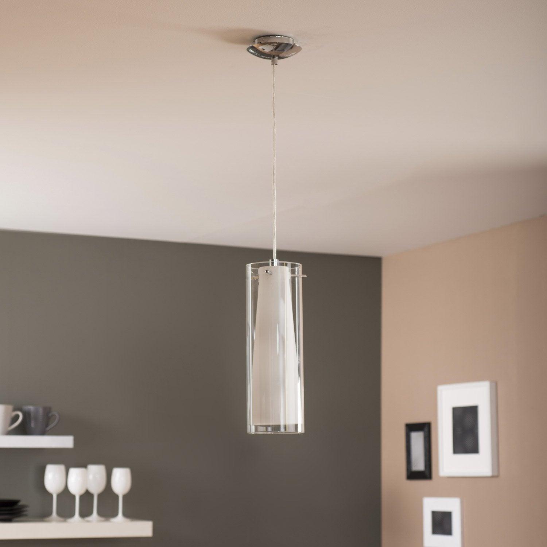 suspension e27 design pinto verre blanc 1 x 60 w eglo leroy merlin. Black Bedroom Furniture Sets. Home Design Ideas