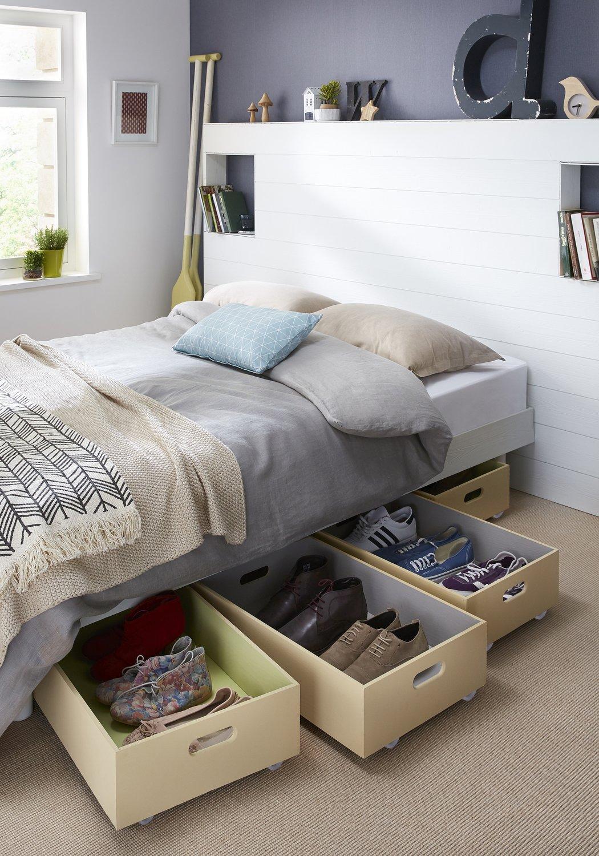 les chaussures rang es sous le lit leroy merlin. Black Bedroom Furniture Sets. Home Design Ideas