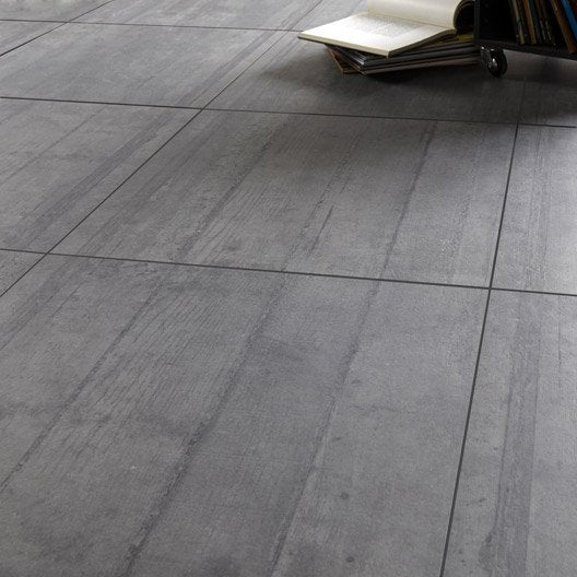 Carrelage sol et mur anthracite effet b ton industry - Carrelage beton cire leroy merlin ...
