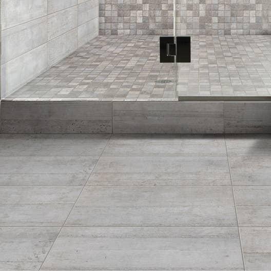 Carrelage sol et mur gris industry x cm leroy - Deposer du carrelage mural ...