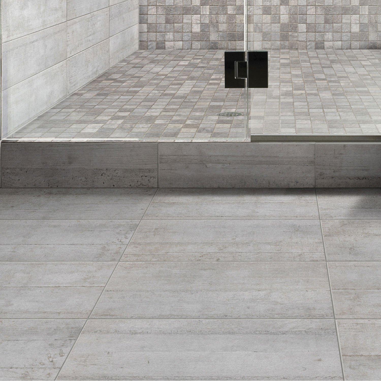 Carrelage Sol Et Mur Gris Industry L X L Cm Leroy Merlin - Carrelage leroy merlin salle de bain