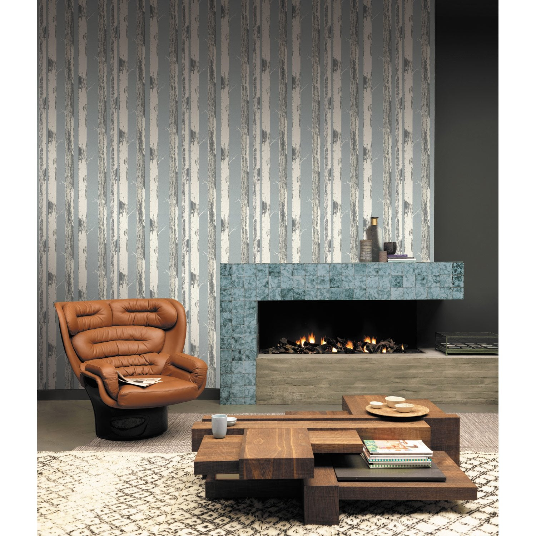 papier peint intiss bouleau bleu leroy merlin. Black Bedroom Furniture Sets. Home Design Ideas