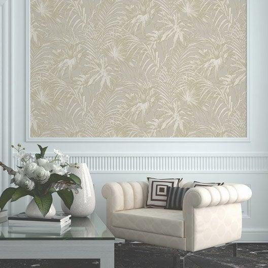 papier peint intiss feuillage beige fonc leroy merlin. Black Bedroom Furniture Sets. Home Design Ideas
