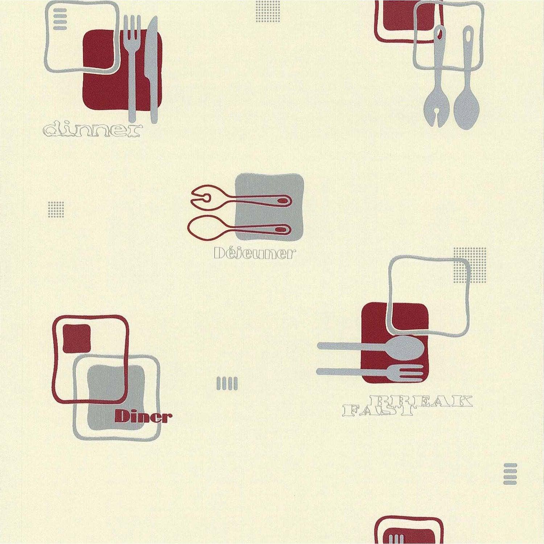 papier peint d jeuner blanc gris rouge papier cuisine et. Black Bedroom Furniture Sets. Home Design Ideas