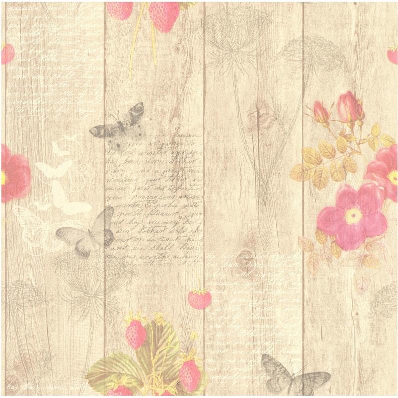 Papier Peint Papillons Beige Rose Intisse Cuisine Et Bain Leroy