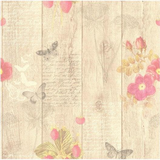 Papier peint papillons beige rose intiss cuisine et bain - Papier peint intisse cuisine ...