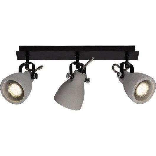 rampe 3 spots industriel thanos 3 xgu10 gris brilliant leroy merlin. Black Bedroom Furniture Sets. Home Design Ideas