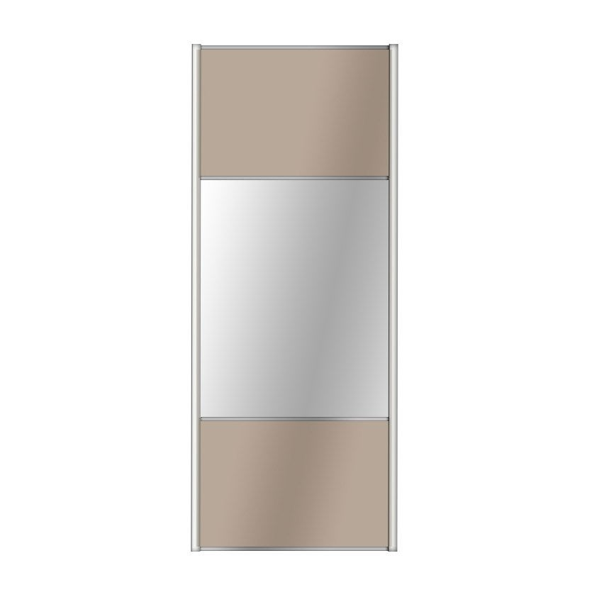 Porte De Placard Coulissante Taupe  Miroir Spaceo L X H Cm