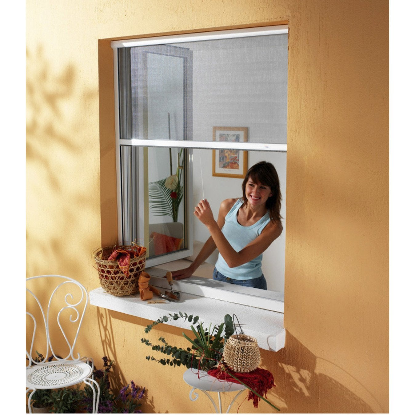 Gentil Moustiquaire Pour Fenêtre à Enroulement Vertical MOSKITOP H.160 X L.125 Cm