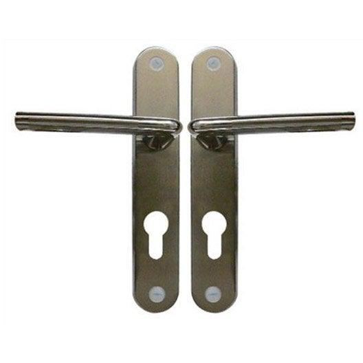 2 poign es de porte d 39 entr e sophie trou de cylindre zinc - Fixation porte d entree ...