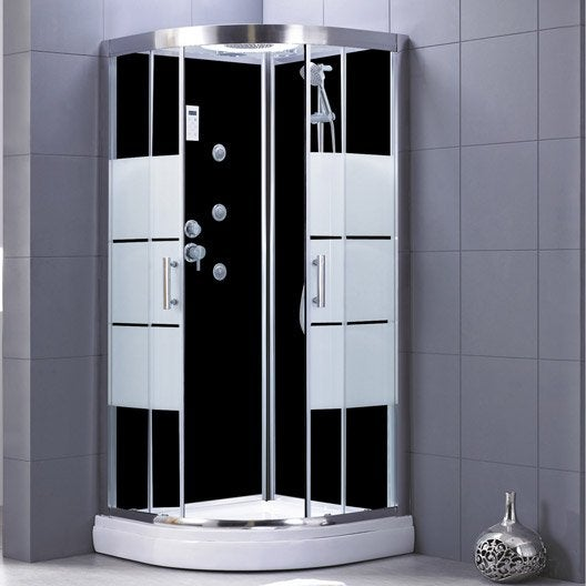 cabine de douche 1 4 de cercle 90x90 cm optima2 noire leroy merlin. Black Bedroom Furniture Sets. Home Design Ideas