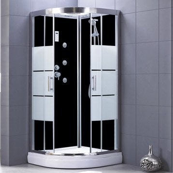 Cabine de douche Optima2 noire hydromassante mitigeur 1/4 de cercle 90x90cm