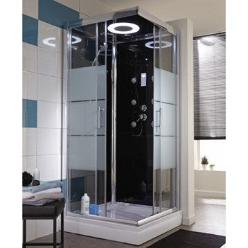 cabine de douche optima2 noire hydromassante mitigeur carr 90x90cm. Black Bedroom Furniture Sets. Home Design Ideas
