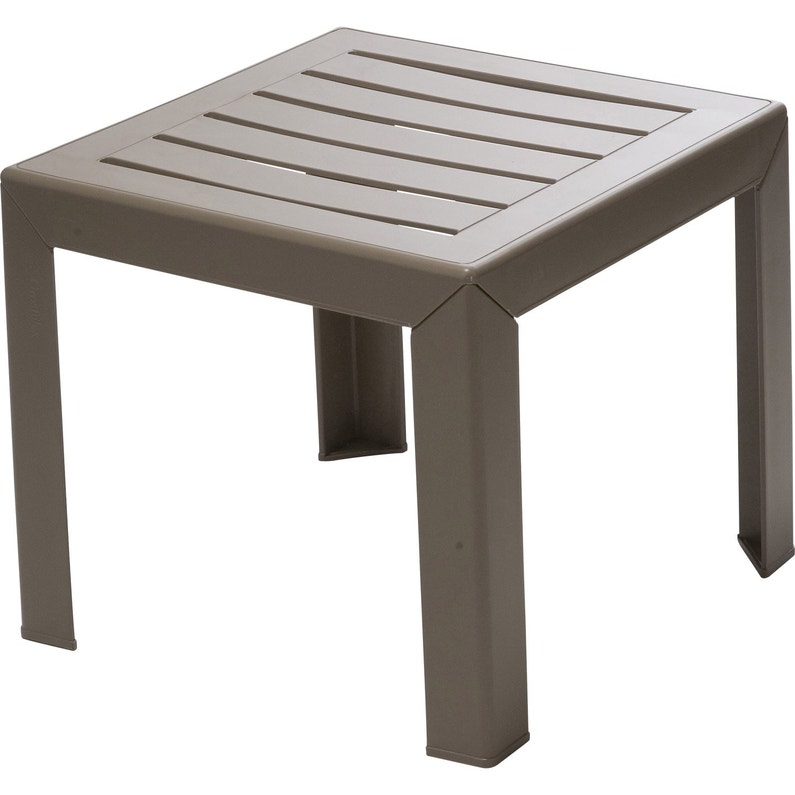 Table De Jardin Basse Grosfillex Miami Carree Taupe 2 Personnes
