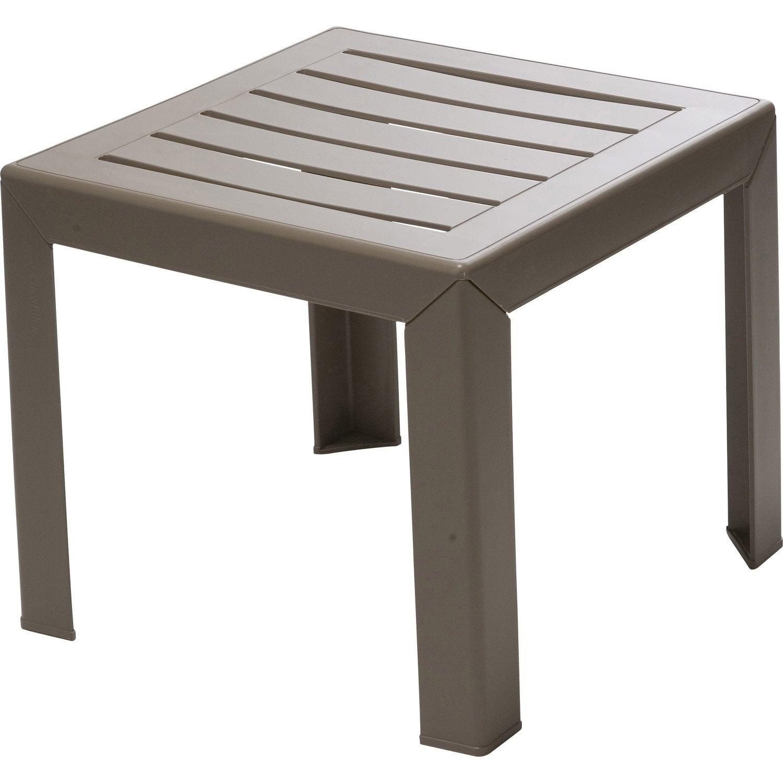 Table de jardin basse GROSFILLEX Miami carrée taupe 2 personnes ...