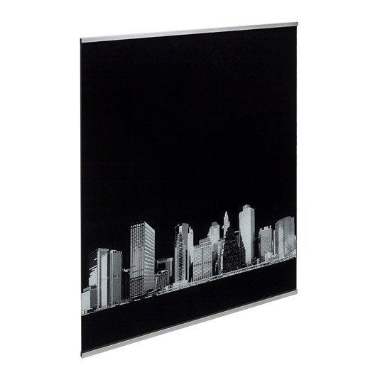 Fond de hotte verre DELINIA Décor New York, L.90 x H.70 cm, ep.5 mm