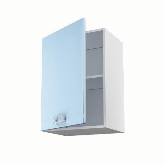 Meuble de cuisine haut bleu 1 porte crystal x x for Meuble haut cuisine 50 cm
