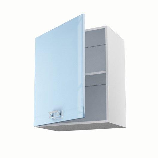 Meuble de cuisine haut bleu 1 porte crystal x x for Meuble cuisine profondeur 60