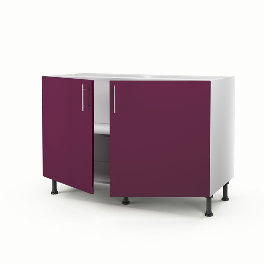 meuble de cuisine sous vier violet 2 portes rio x x cm leroy merlin. Black Bedroom Furniture Sets. Home Design Ideas