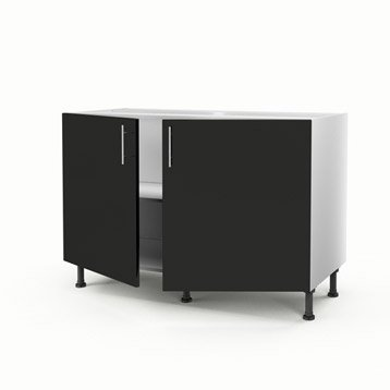 meuble de cuisine noir delinia rio leroy merlin. Black Bedroom Furniture Sets. Home Design Ideas
