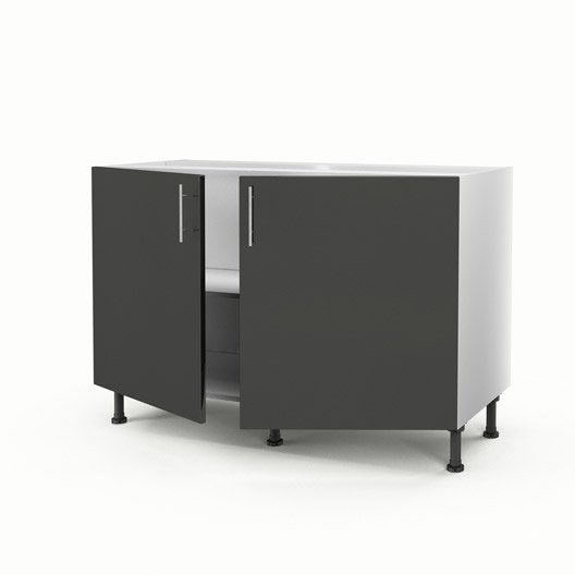 meuble de cuisine sous vier gris 2 portes rio x x cm leroy merlin. Black Bedroom Furniture Sets. Home Design Ideas