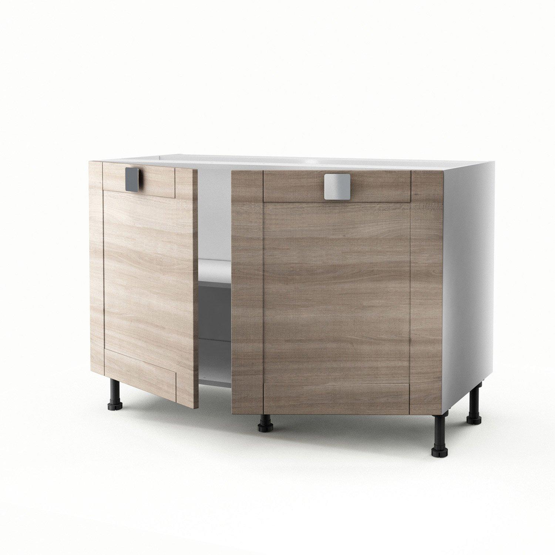 meuble de cuisine sous vier dcor chne 2 portes karrey h70 x l120 x p56 cm