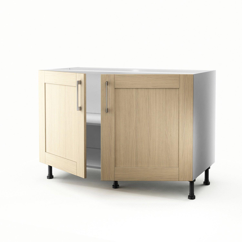 meuble de cuisine sous vier ch ne clair 2 portes cyclone x x cm leroy merlin. Black Bedroom Furniture Sets. Home Design Ideas