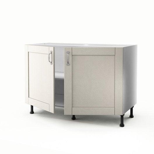 Meuble de cuisine sous vier gris 2 portes mystral x for Evier 70 cm cuisine